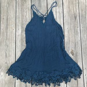 Blue free people tank w/ braided straps and lace